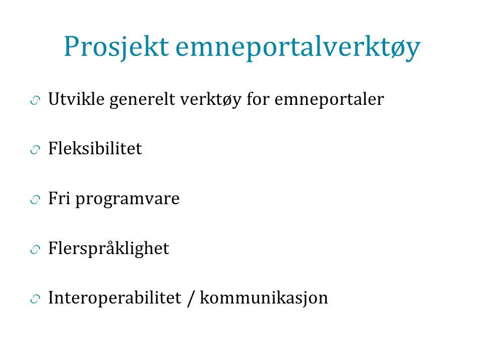 Prosjekt emneportalverktøy Utvikle generelt verktøy for emneportaler Fleksibilitet Fri programvare Flerspråklighet Interoperabilitet / kommunikasjon