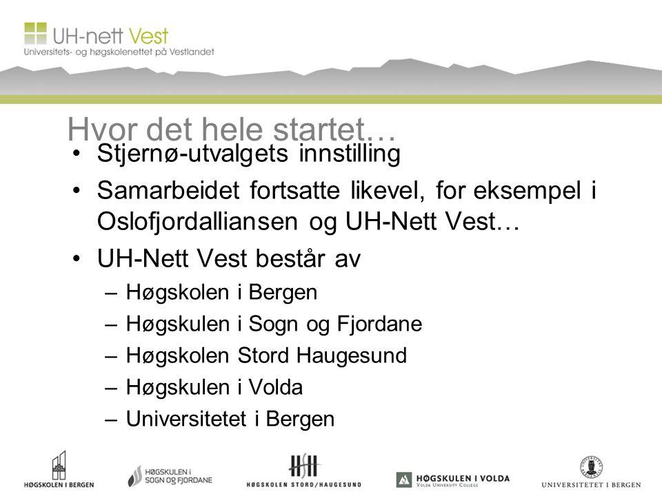 Hvor det hele startet… Stjernø-utvalgets innstilling Samarbeidet fortsatte likevel, for eksempel i Oslofjordalliansen og UH-Nett Vest… UH-Nett Vest be