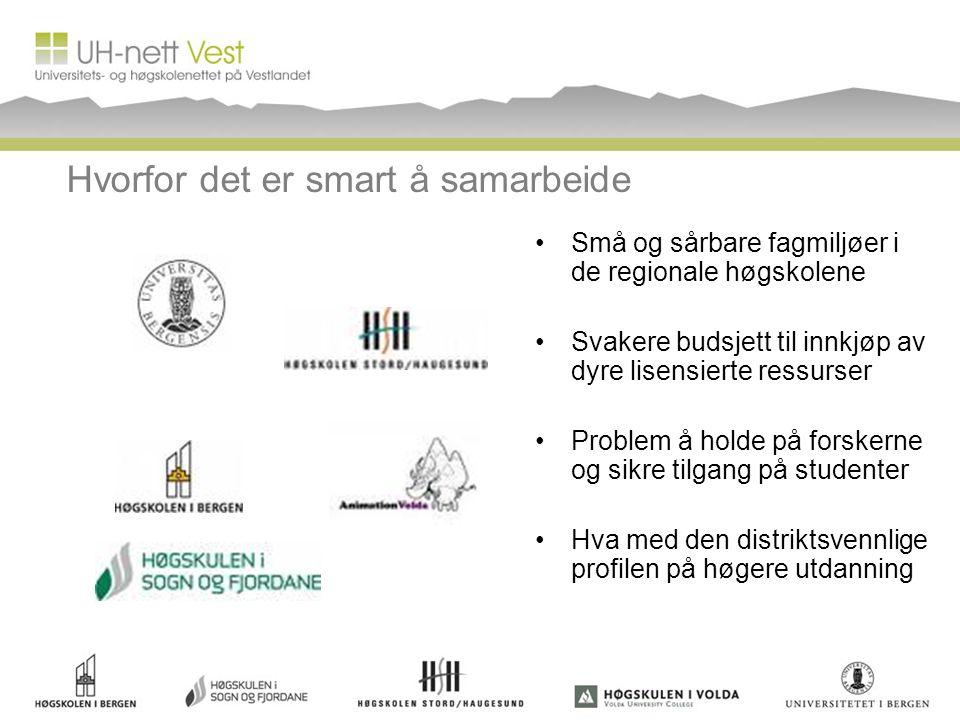 Hvorfor det er smart å samarbeide Små og sårbare fagmiljøer i de regionale høgskolene Svakere budsjett til innkjøp av dyre lisensierte ressurser Probl