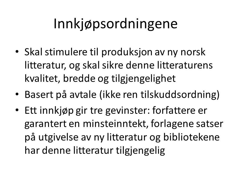 Innkjøpsordningene Skal stimulere til produksjon av ny norsk litteratur, og skal sikre denne litteraturens kvalitet, bredde og tilgjengelighet Basert på avtale (ikke ren tilskuddsordning) Ett innkjøp gir tre gevinster: forfattere er garantert en minsteinntekt, forlagene satser på utgivelse av ny litteratur og bibliotekene har denne litteratur tilgjengelig