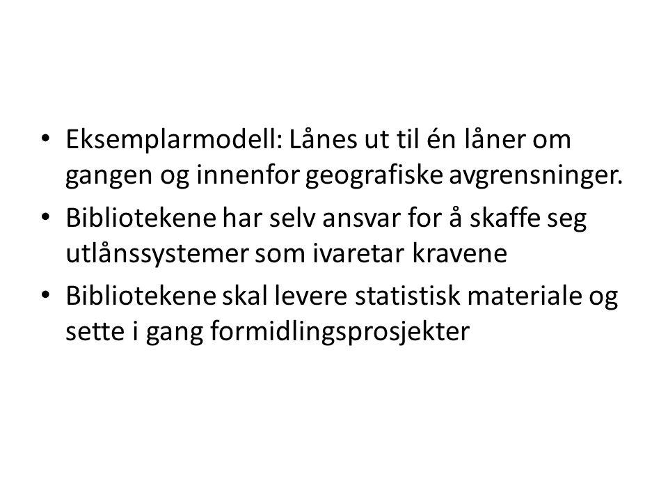 Eksemplarmodell: Lånes ut til én låner om gangen og innenfor geografiske avgrensninger.