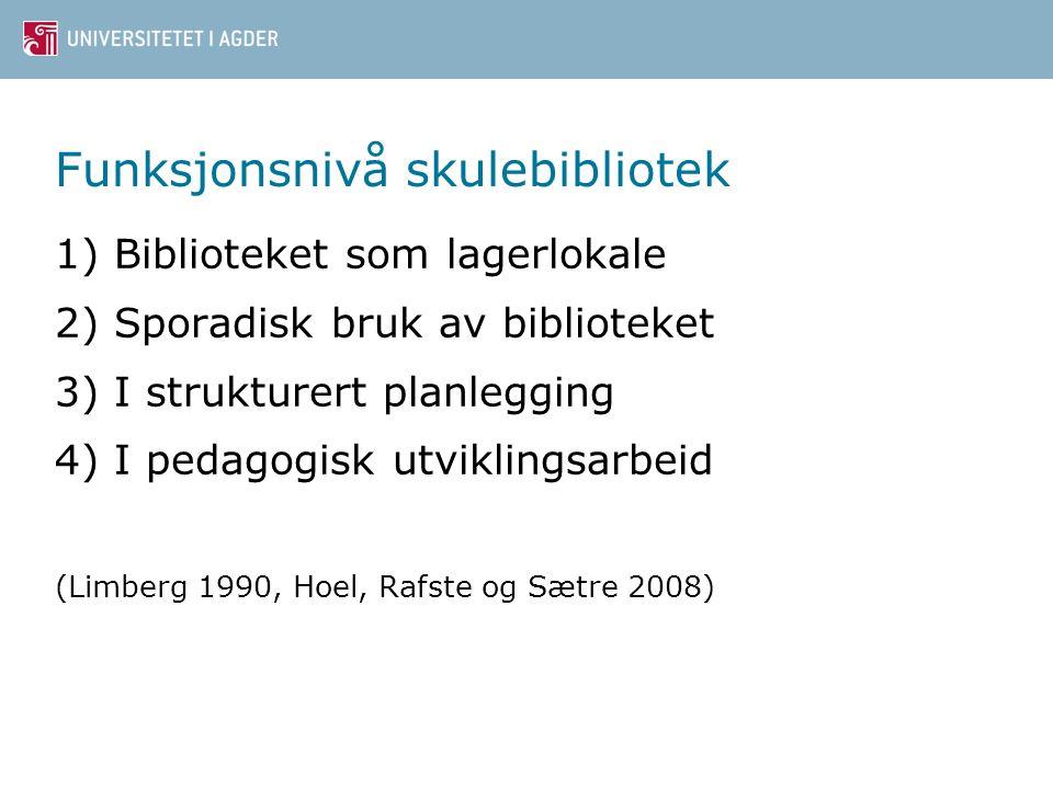 Funksjonsnivå skulebibliotek 1) Biblioteket som lagerlokale 2) Sporadisk bruk av biblioteket 3) I strukturert planlegging 4) I pedagogisk utviklingsarbeid (Limberg 1990, Hoel, Rafste og Sætre 2008)