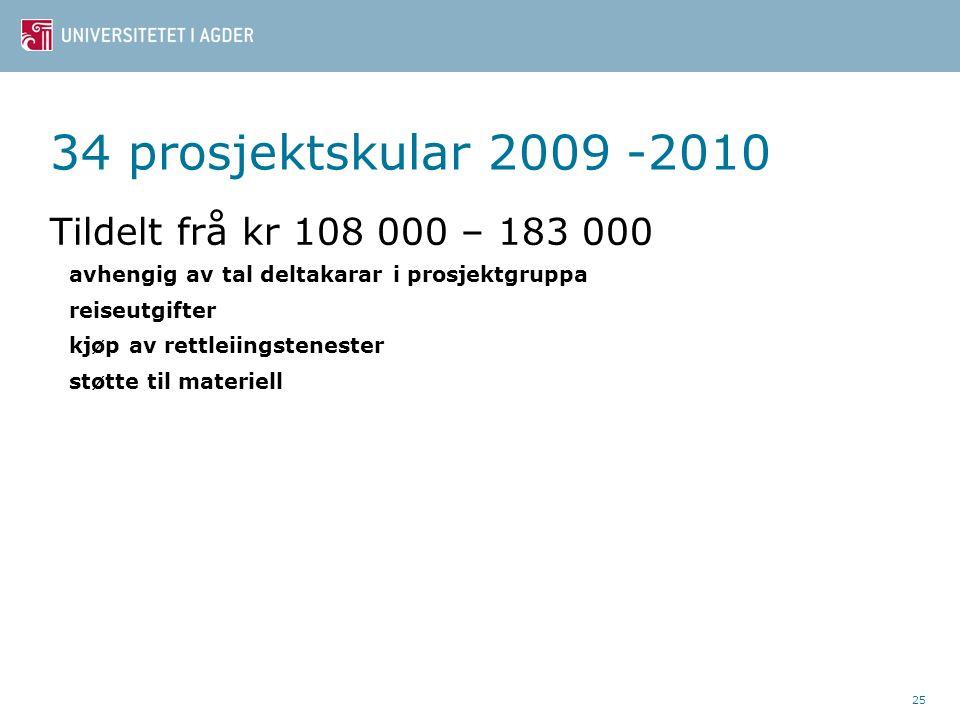 25 34 prosjektskular 2009 -2010 Tildelt frå kr 108 000 – 183 000 avhengig av tal deltakarar i prosjektgruppa reiseutgifter kjøp av rettleiingstenester støtte til materiell
