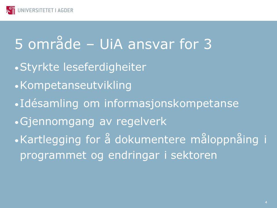 4 5 område – UiA ansvar for 3 Styrkte leseferdigheiter Kompetanseutvikling Idésamling om informasjonskompetanse Gjennomgang av regelverk Kartlegging for å dokumentere måloppnåing i programmet og endringar i sektoren