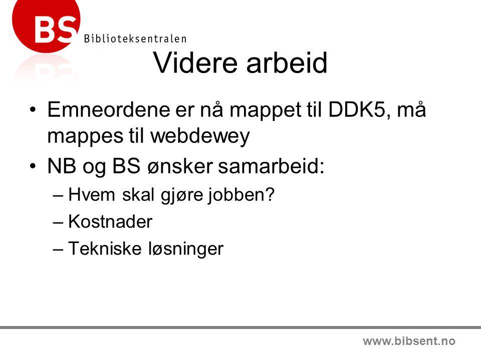 Videre arbeid Emneordene er nå mappet til DDK5, må mappes til webdewey NB og BS ønsker samarbeid: –Hvem skal gjøre jobben? –Kostnader –Tekniske løsnin