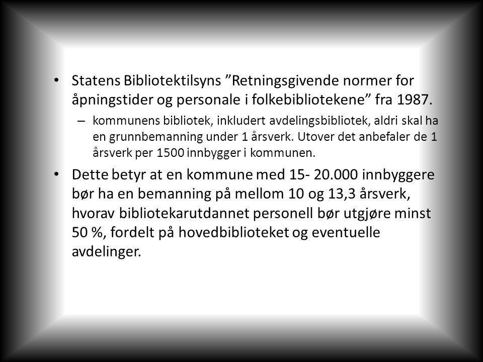 Statens Bibliotektilsyns Retningsgivende normer for åpningstider og personale i folkebibliotekene fra 1987.
