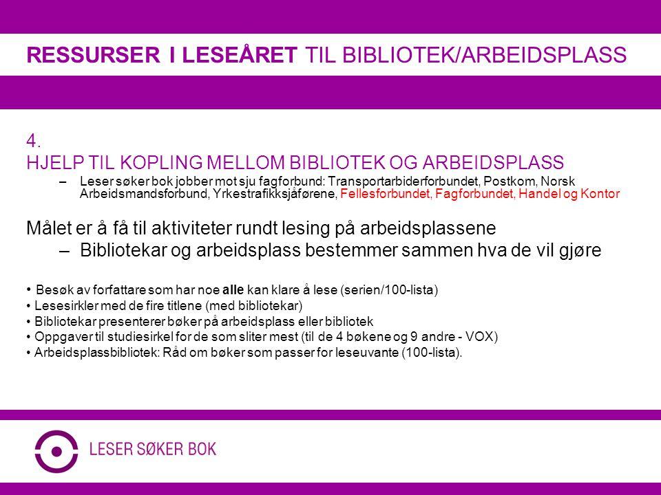 4. HJELP TIL KOPLING MELLOM BIBLIOTEK OG ARBEIDSPLASS –Leser søker bok jobber mot sju fagforbund: Transportarbiderforbundet, Postkom, Norsk Arbeidsman