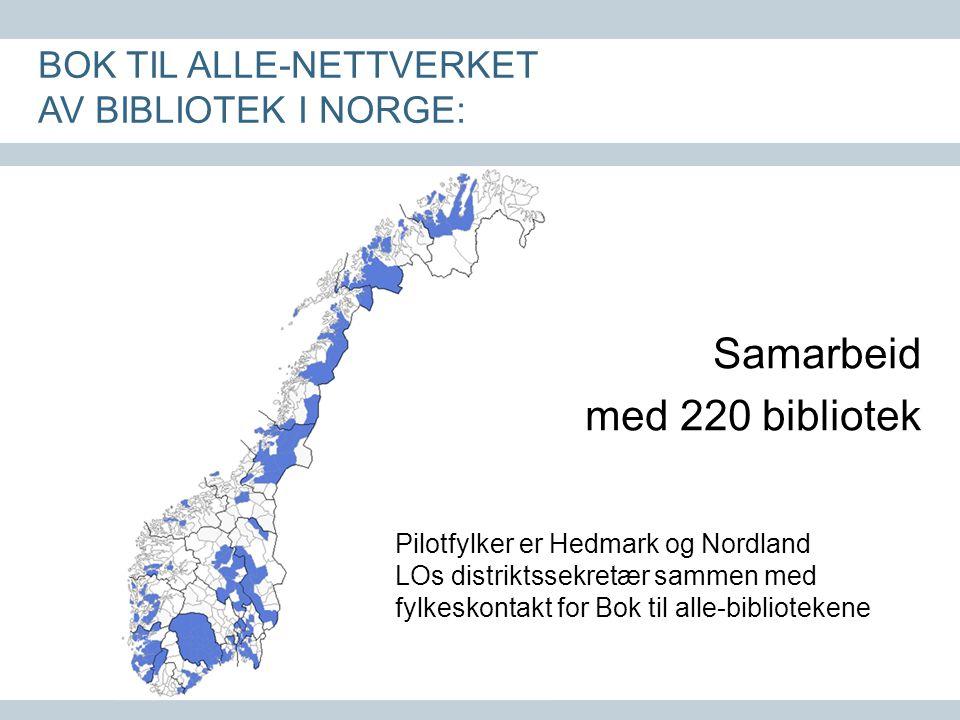 Samarbeid med 220 bibliotek BOK TIL ALLE-NETTVERKET AV BIBLIOTEK I NORGE: Pilotfylker er Hedmark og Nordland LOs distriktssekretær sammen med fylkeskontakt for Bok til alle-bibliotekene
