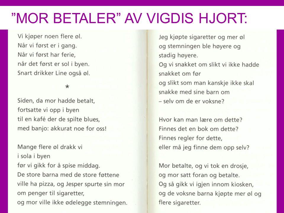 LESER SØKER BOK MOR BETALER AV VIGDIS HJORT: