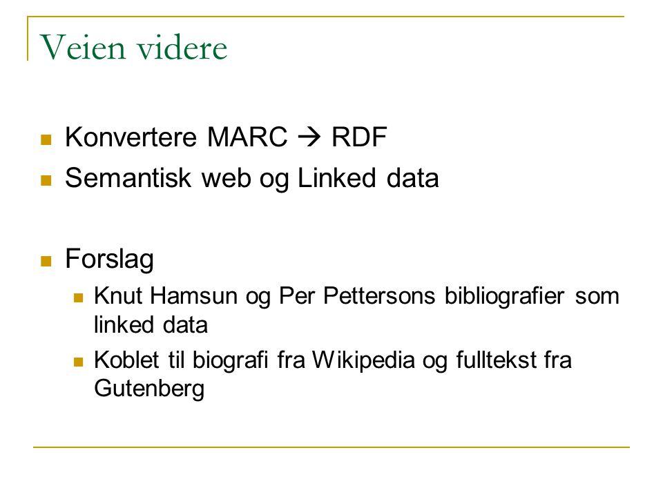 Veien videre Konvertere MARC  RDF Semantisk web og Linked data Forslag Knut Hamsun og Per Pettersons bibliografier som linked data Koblet til biograf