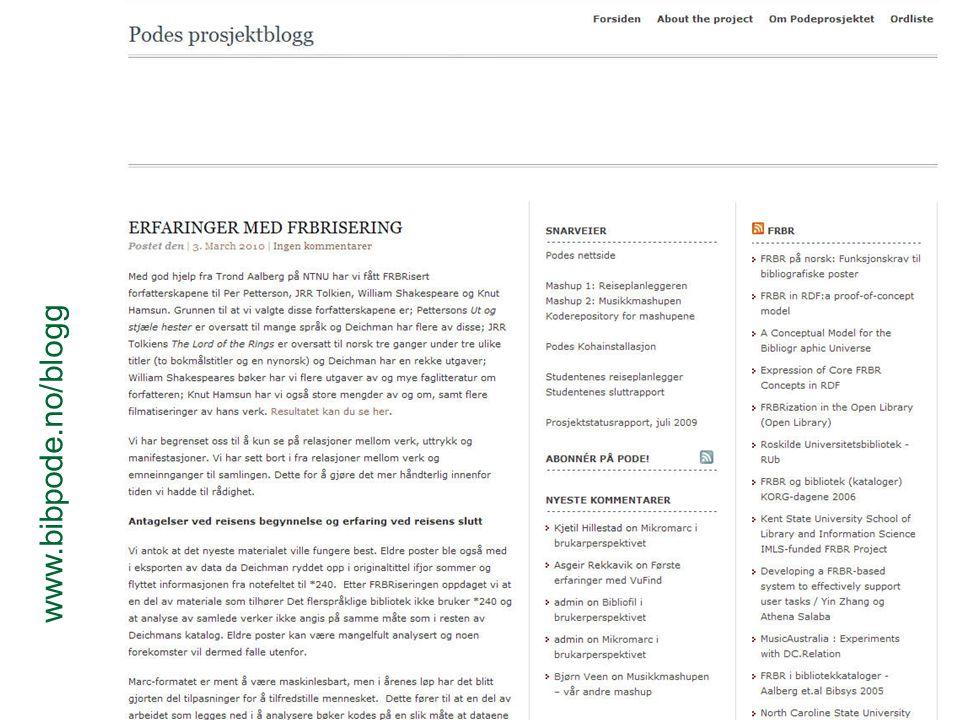 Veien videre Konvertere MARC  RDF Semantisk web og Linked data Forslag Knut Hamsun og Per Pettersons bibliografier som linked data Koblet til biografi fra Wikipedia og fulltekst fra Gutenberg