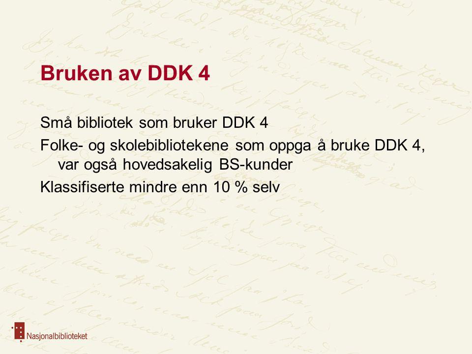 Bruken av DDK 4 Små bibliotek som bruker DDK 4 Folke- og skolebibliotekene som oppga å bruke DDK 4, var også hovedsakelig BS-kunder Klassifiserte mind