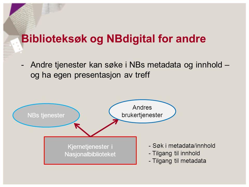Biblioteksøk og NBdigital for andre -Andre tjenester kan søke i NBs metadata og innhold – og ha egen presentasjon av treff Kjernetjenester i Nasjonalb
