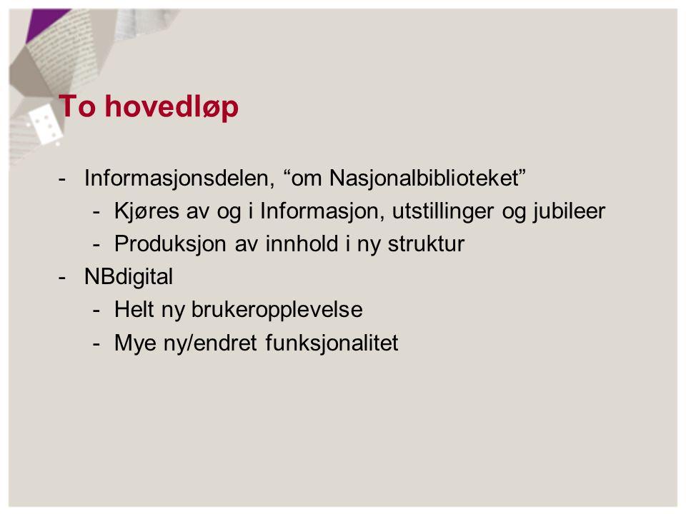 """To hovedløp -Informasjonsdelen, """"om Nasjonalbiblioteket"""" -Kjøres av og i Informasjon, utstillinger og jubileer -Produksjon av innhold i ny struktur -N"""