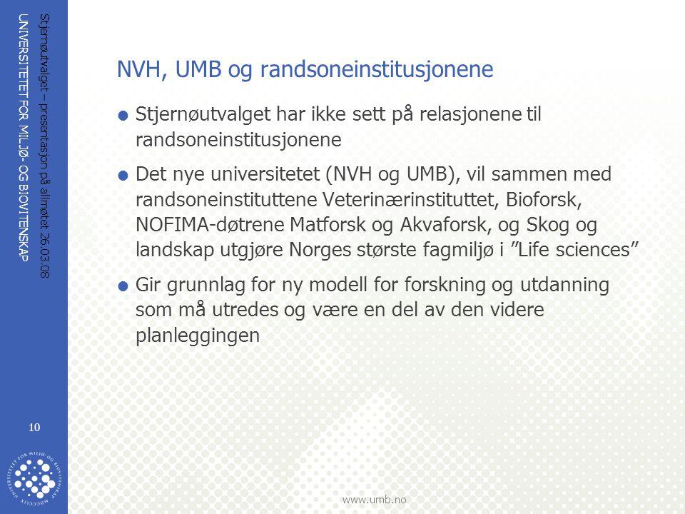 UNIVERSITETET FOR MILJØ- OG BIOVITENSKAP www.umb.no Stjernøutvalget – presentasjon på allmøtet 26.03.08 10 NVH, UMB og randsoneinstitusjonene  Stjern