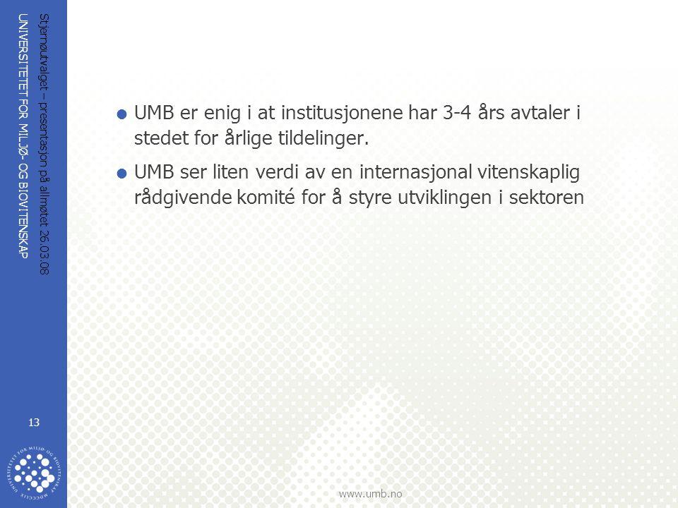 UNIVERSITETET FOR MILJØ- OG BIOVITENSKAP www.umb.no Stjernøutvalget – presentasjon på allmøtet 26.03.08 13  UMB er enig i at institusjonene har 3-4 å