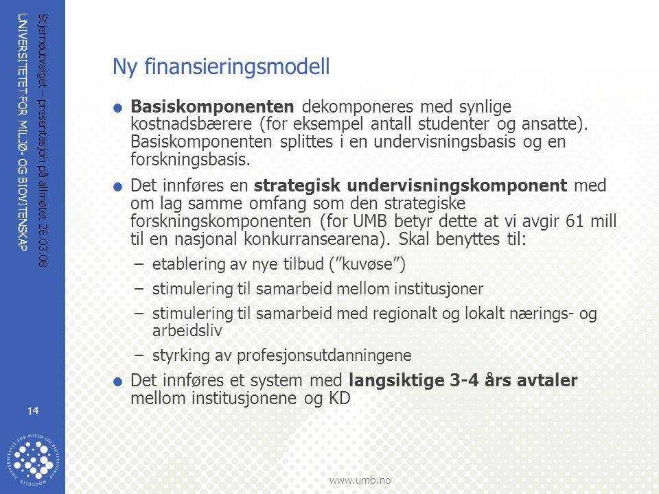 UNIVERSITETET FOR MILJØ- OG BIOVITENSKAP www.umb.no Stjernøutvalget – presentasjon på allmøtet 26.03.08 14 Ny finansieringsmodell  Basiskomponenten d