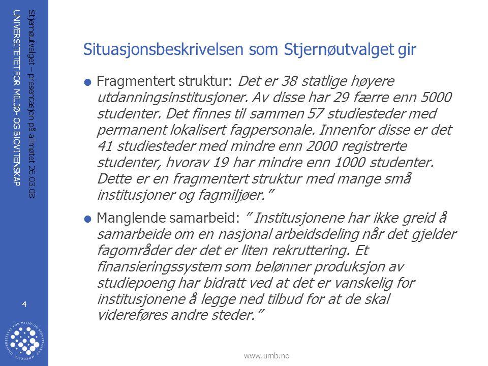 UNIVERSITETET FOR MILJØ- OG BIOVITENSKAP www.umb.no Stjernøutvalget – presentasjon på allmøtet 26.03.08 4 Situasjonsbeskrivelsen som Stjernøutvalget g