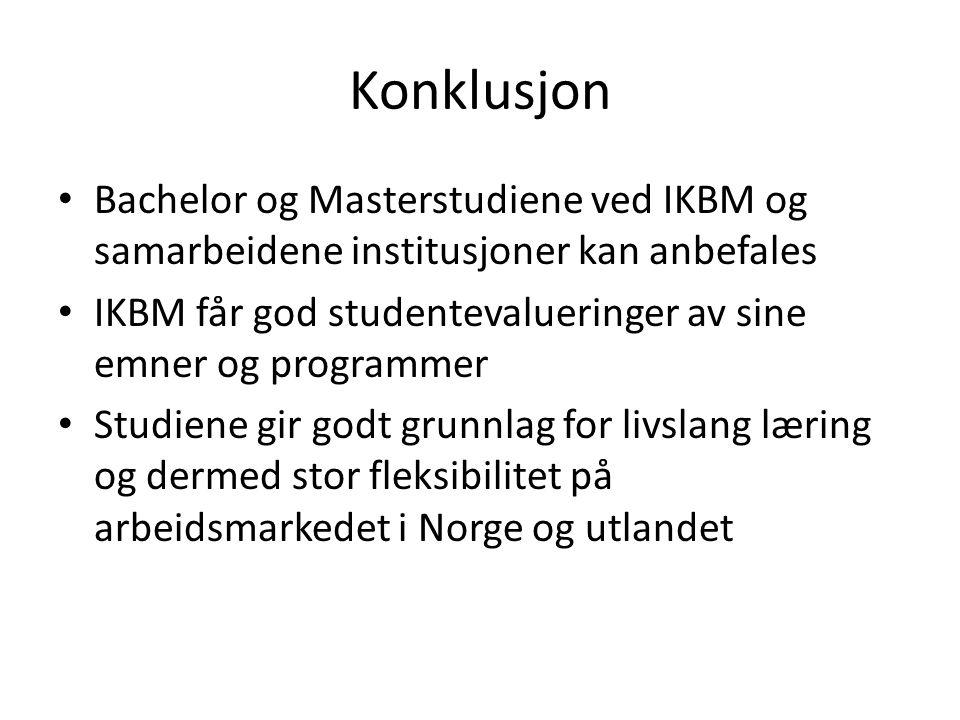 Konklusjon Bachelor og Masterstudiene ved IKBM og samarbeidene institusjoner kan anbefales IKBM får god studentevalueringer av sine emner og programme