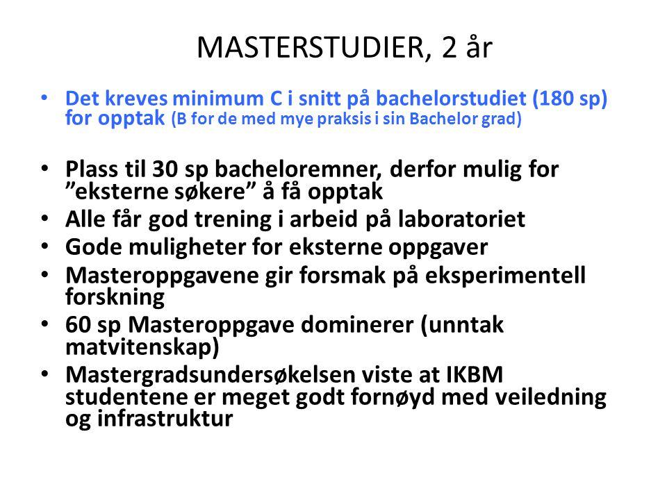 MASTERSTUDIER, 2 år Det kreves minimum C i snitt på bachelorstudiet (180 sp) for opptak (B for de med mye praksis i sin Bachelor grad) Plass til 30 sp