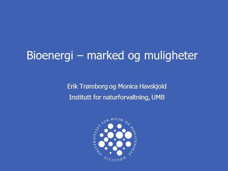 Bioenergi – marked og muligheter Erik Trømborg og Monica Havskjold Institutt for naturforvaltning, UMB