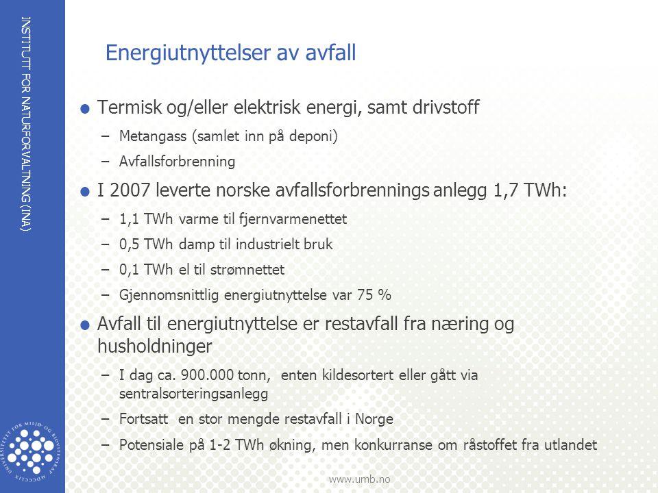 INSTITUTT FOR NATURFORVALTNING (INA) www.umb.no Energiutnyttelser av avfall  Termisk og/eller elektrisk energi, samt drivstoff –Metangass (samlet inn
