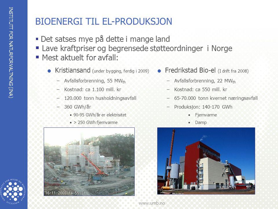 INSTITUTT FOR NATURFORVALTNING (INA) www.umb.no  Kristiansand (under bygging, ferdig i 2009) –Avfallsforbrenning, 55 MW th –Kostnad: ca 1.100 mill. k