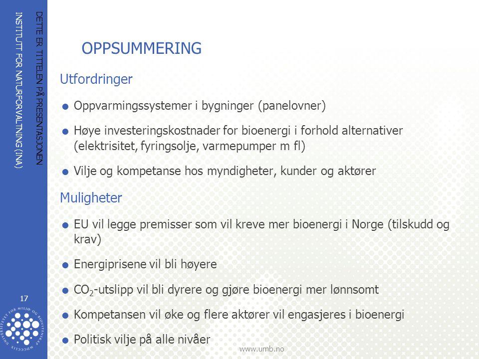 INSTITUTT FOR NATURFORVALTNING (INA) www.umb.no OPPSUMMERING Utfordringer  Oppvarmingssystemer i bygninger (panelovner)  Høye investeringskostnader