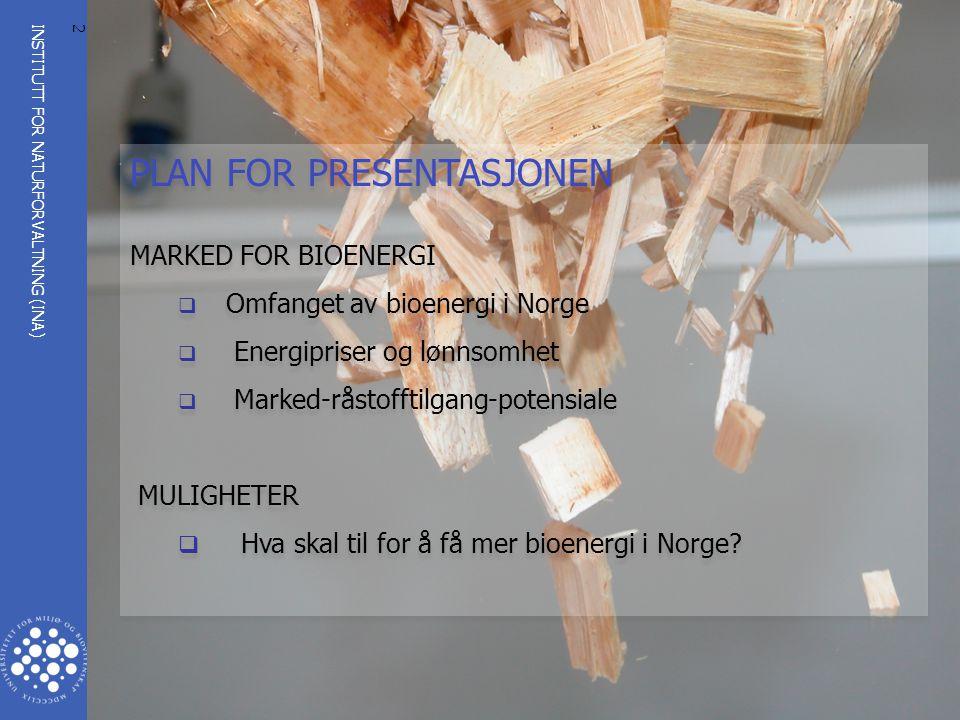 INSTITUTT FOR NATURFORVALTNING (INA) www.umb.no 2 PLAN FOR PRESENTASJONEN MARKED FOR BIOENERGI  Omfanget av bioenergi i Norge  Energipriser og lønns