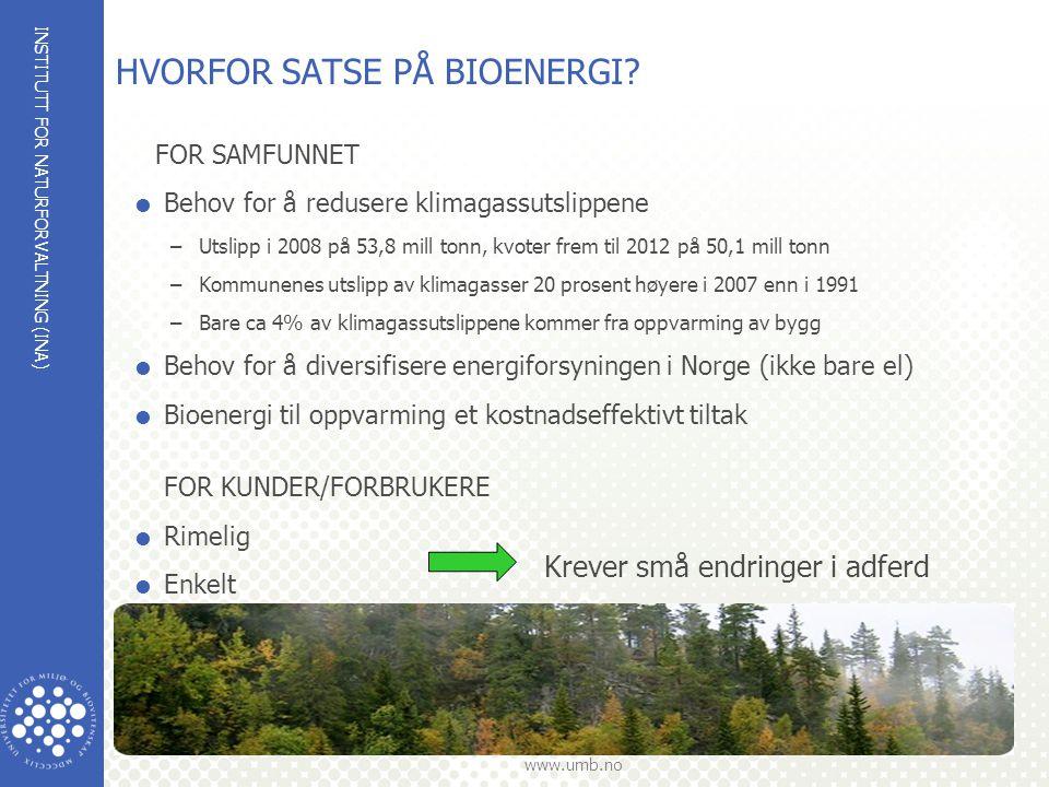 INSTITUTT FOR NATURFORVALTNING (INA) www.umb.no HVORFOR SATSE PÅ BIOENERGI? FOR SAMFUNNET  Behov for å redusere klimagassutslippene –Utslipp i 2008 p