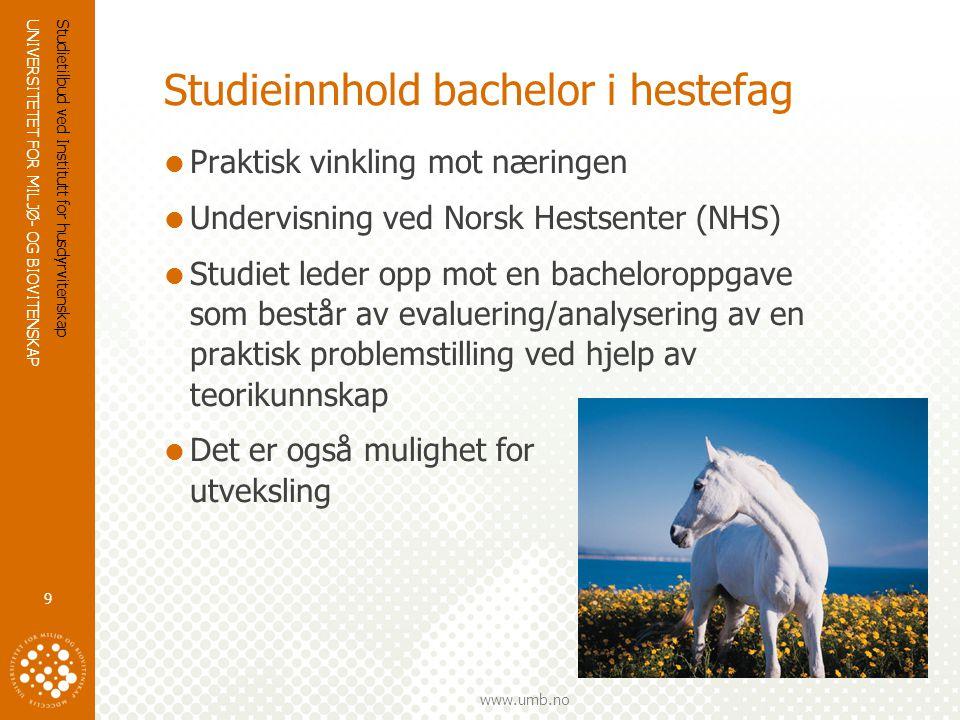 UNIVERSITETET FOR MILJØ- OG BIOVITENSKAP www.umb.no Opptakskrav bachelor i hestefag Realfagskompetanse:  Generell studiekompetanse + 2MX/2MY/3MZ + 3MX/3FY/3KJ/3BI/(2KJ+3BT).