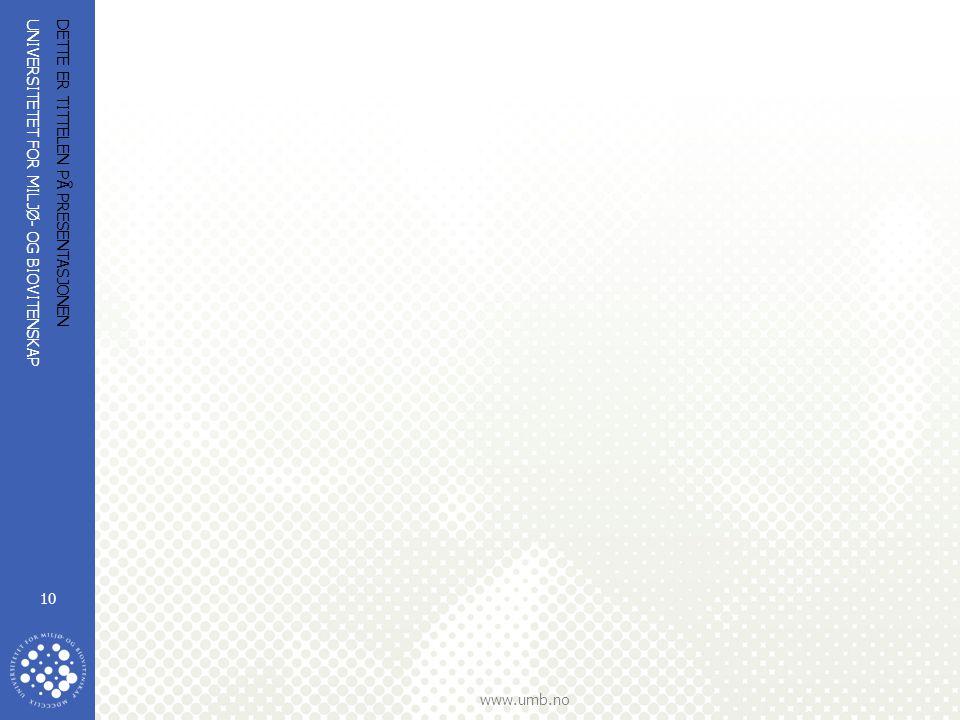 UNIVERSITETET FOR MILJØ- OG BIOVITENSKAP www.umb.no DETTE ER TITTELEN PÅ PRESENTASJONEN 10