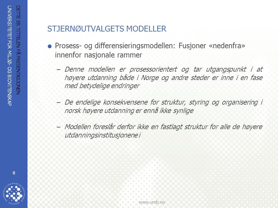 UNIVERSITETET FOR MILJØ- OG BIOVITENSKAP www.umb.no DETTE ER TITTELEN PÅ PRESENTASJONEN 8 STJERNØUTVALGETS MODELLER  Prosess- og differensieringsmodellen: Fusjoner «nedenfra» innenfor nasjonale rammer –Denne modellen er prosessorientert og tar utgangspunkt i at høyere utdanning både i Norge og andre steder er inne i en fase med betydelige endringer –De endelige konsekvensene for struktur, styring og organisering i norsk høyere utdanning er ennå ikke synlige –Modellen foreslår derfor ikke en fastlagt struktur for alle de høyere utdanningsinstitusjonene i