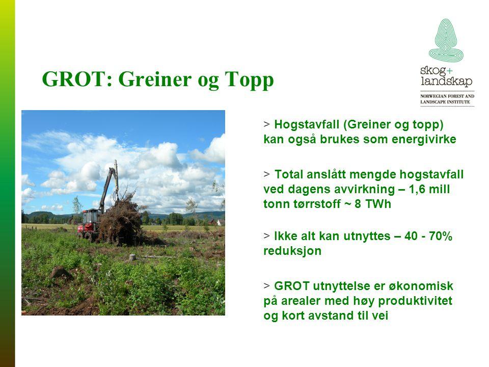 GROT: Greiner og Topp > Hogstavfall (Greiner og topp) kan også brukes som energivirke > Total anslått mengde hogstavfall ved dagens avvirkning – 1,6 mill tonn tørrstoff ~ 8 TWh > Ikke alt kan utnyttes – 40 - 70% reduksjon > GROT utnyttelse er økonomisk på arealer med høy produktivitet og kort avstand til vei