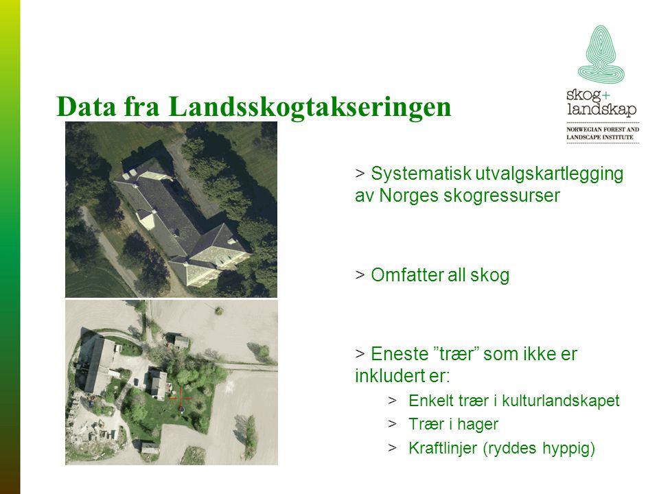 Data fra Landsskogtakseringen > Systematisk utvalgskartlegging av Norges skogressurser > Omfatter all skog > Eneste trær som ikke er inkludert er: >Enkelt trær i kulturlandskapet >Trær i hager >Kraftlinjer (ryddes hyppig)