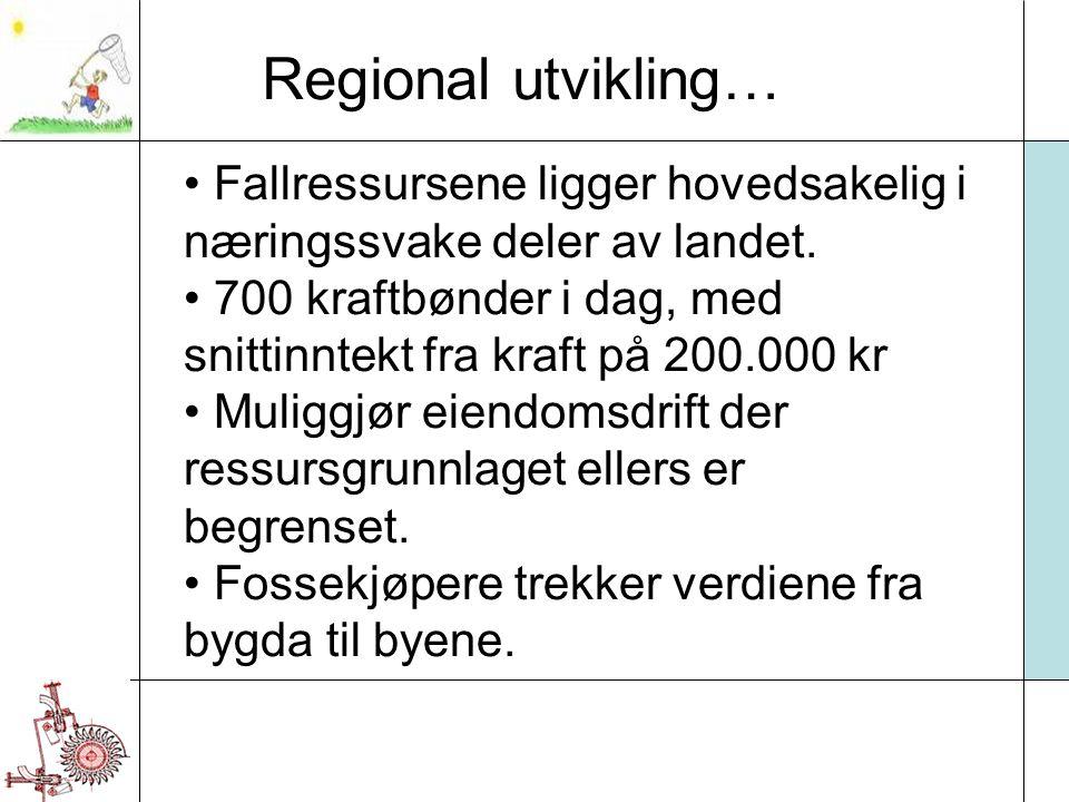 Regional utvikling… Fallressursene ligger hovedsakelig i næringssvake deler av landet. 700 kraftbønder i dag, med snittinntekt fra kraft på 200.000 kr