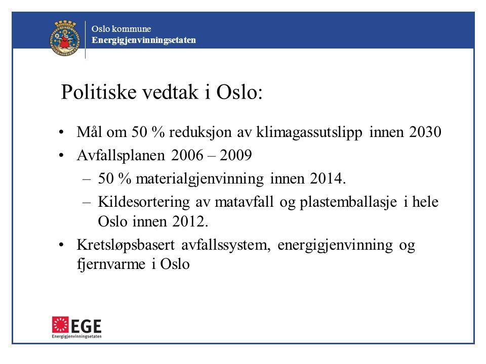 Oslo kommune Energigjenvinningsetaten Politiske vedtak i Oslo: Mål om 50 % reduksjon av klimagassutslipp innen 2030 Avfallsplanen 2006 – 2009 –50 % ma