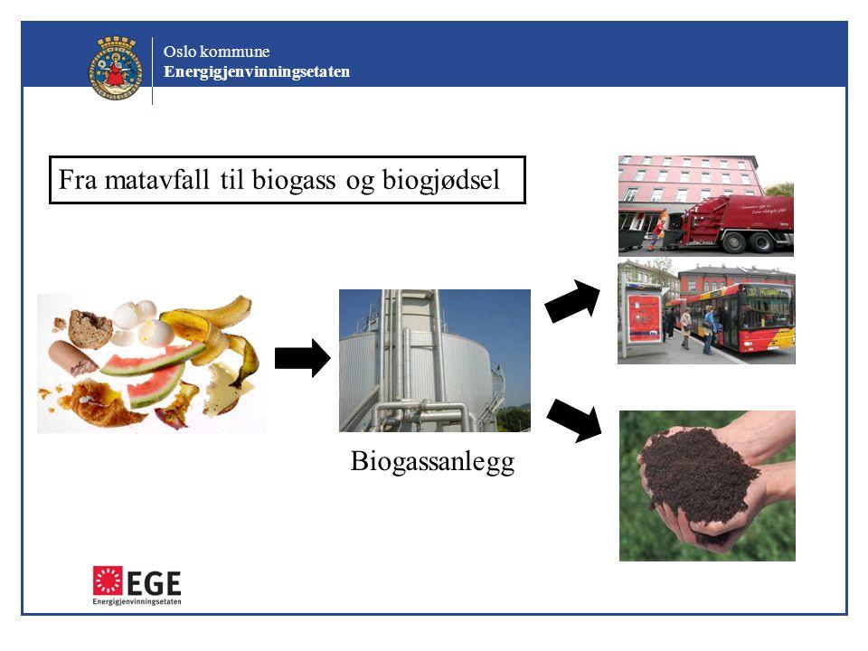 Oslo kommune Energigjenvinningsetaten Biogassanlegg Fra matavfall til biogass og biogjødsel