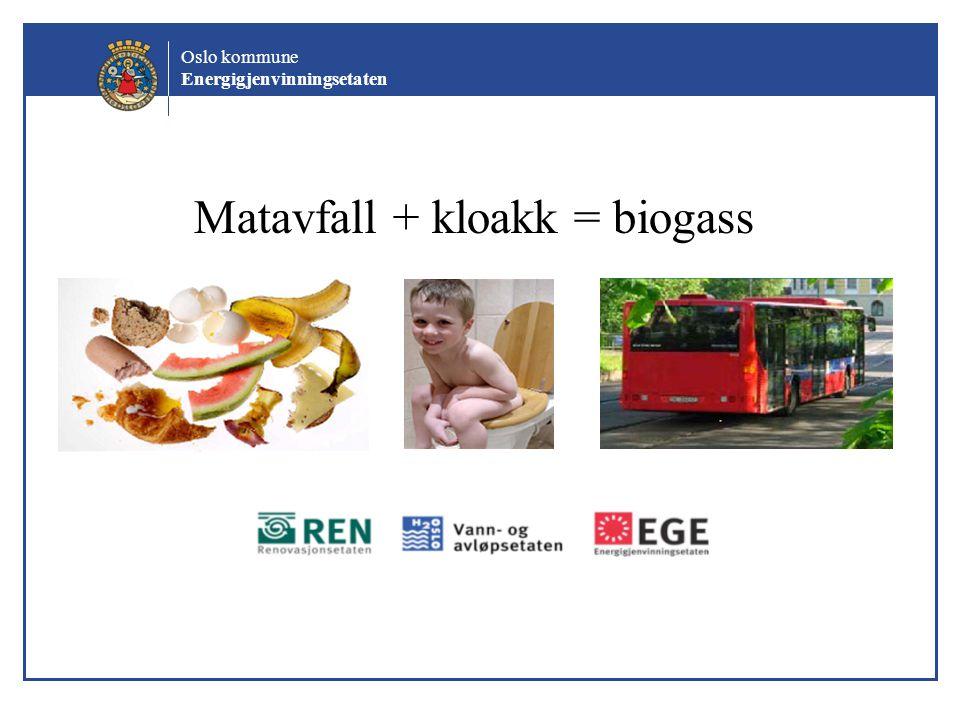 Oslo kommune Energigjenvinningsetaten Matavfall + kloakk = biogass