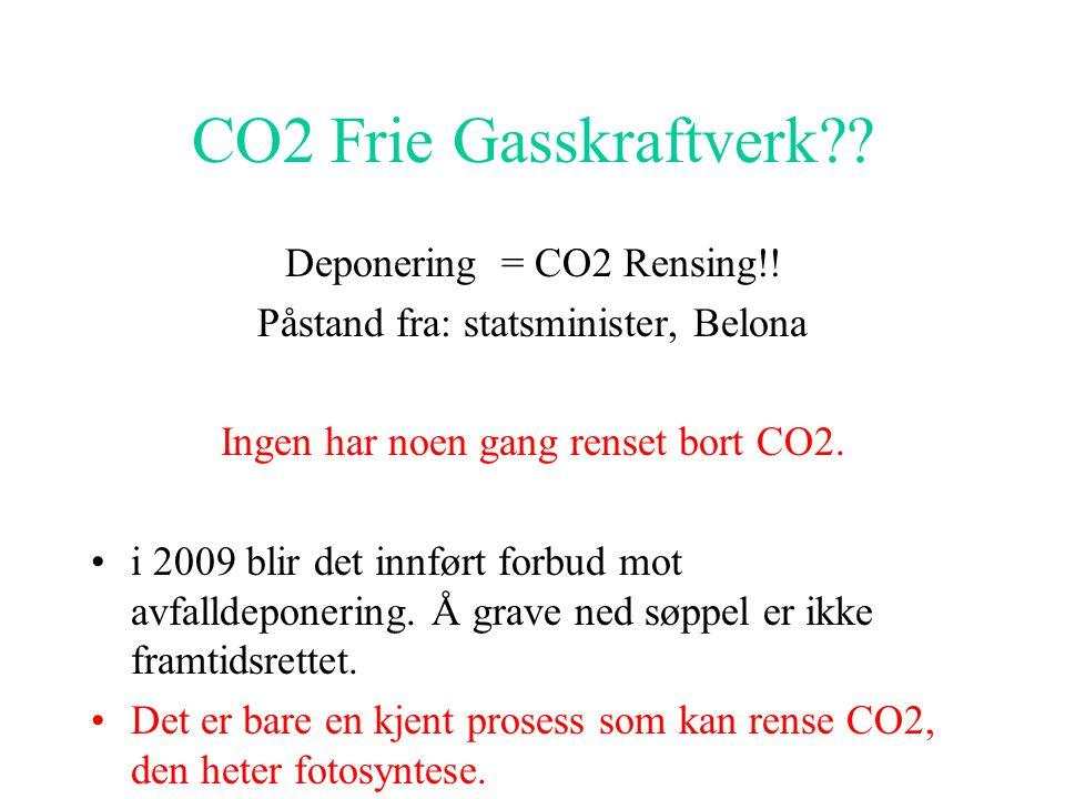 CO2 Frie Gasskraftverk?.Deponering = CO2 Rensing!.