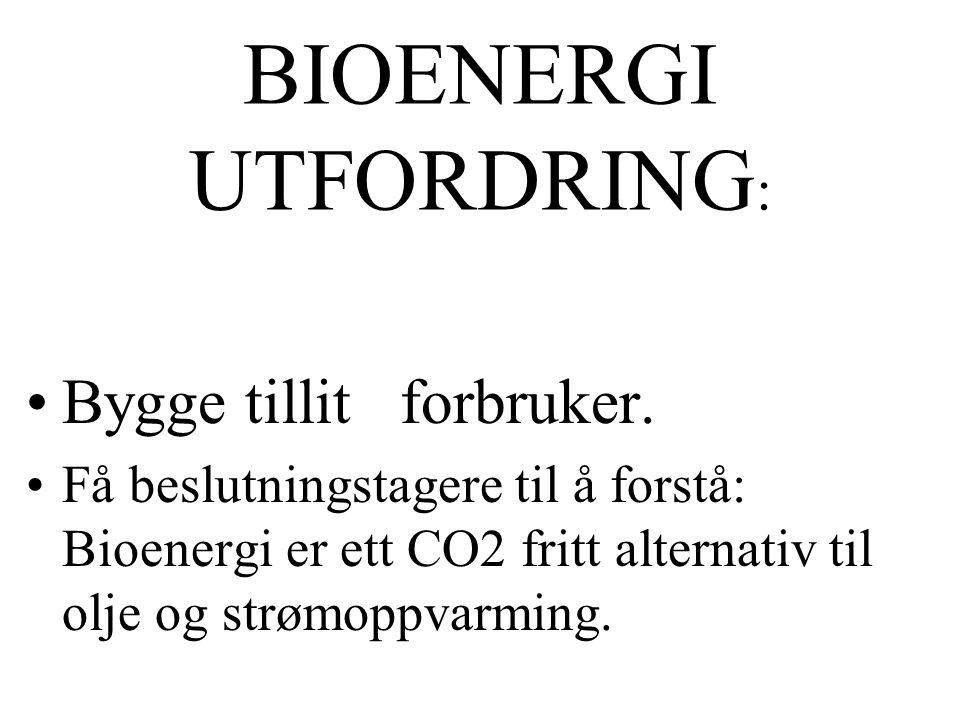 BIOENERGI UTFORDRING : Bygge tillit forbruker.