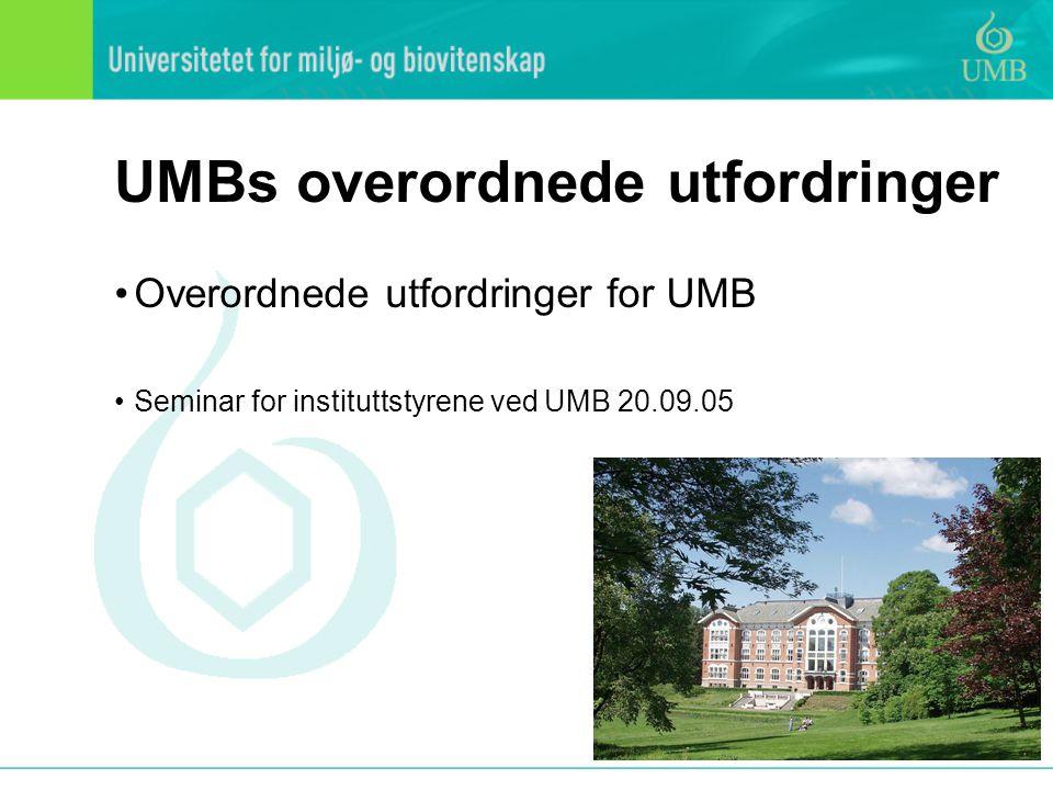 UMBs overordnede utfordringer Overordnede utfordringer for UMB Seminar for instituttstyrene ved UMB 20.09.05