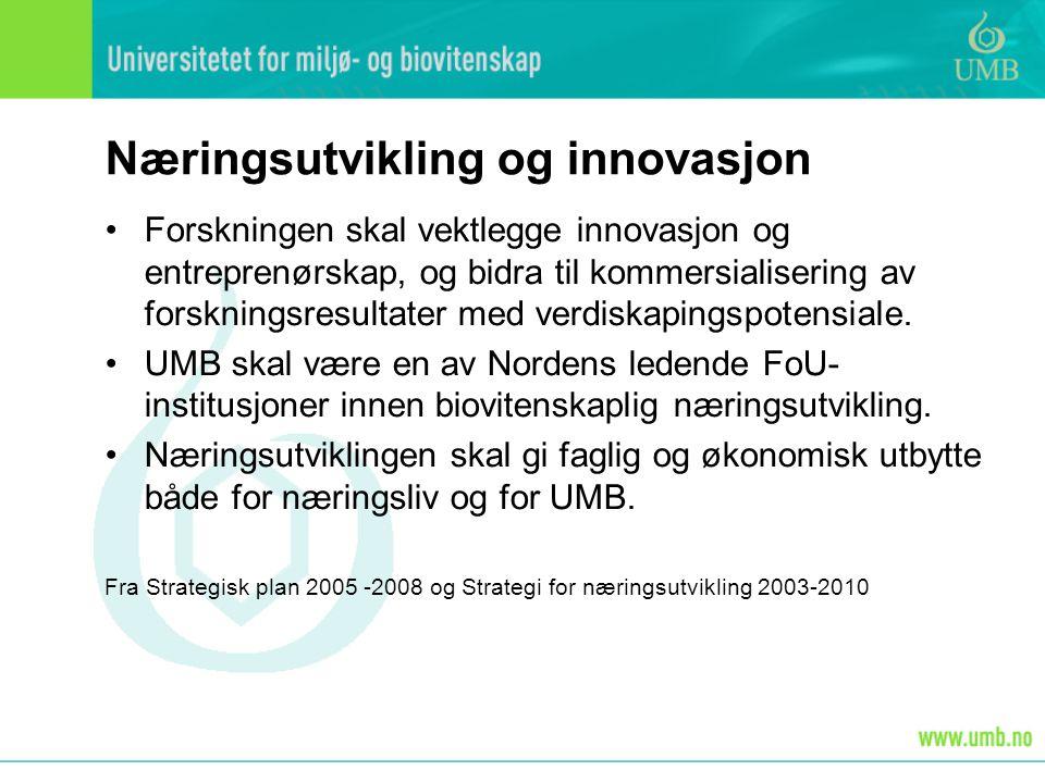 Næringsutvikling og innovasjon Forskningen skal vektlegge innovasjon og entreprenørskap, og bidra til kommersialisering av forskningsresultater med verdiskapingspotensiale.