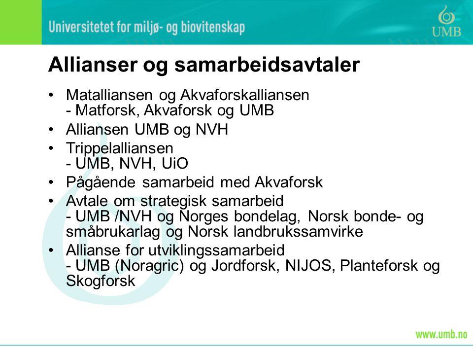 Allianser og samarbeidsavtaler Matalliansen og Akvaforskalliansen - Matforsk, Akvaforsk og UMB Alliansen UMB og NVH Trippelalliansen - UMB, NVH, UiO Pågående samarbeid med Akvaforsk Avtale om strategisk samarbeid - UMB /NVH og Norges bondelag, Norsk bonde- og småbrukarlag og Norsk landbrukssamvirke Allianse for utviklingssamarbeid - UMB (Noragric) og Jordforsk, NIJOS, Planteforsk og Skogforsk