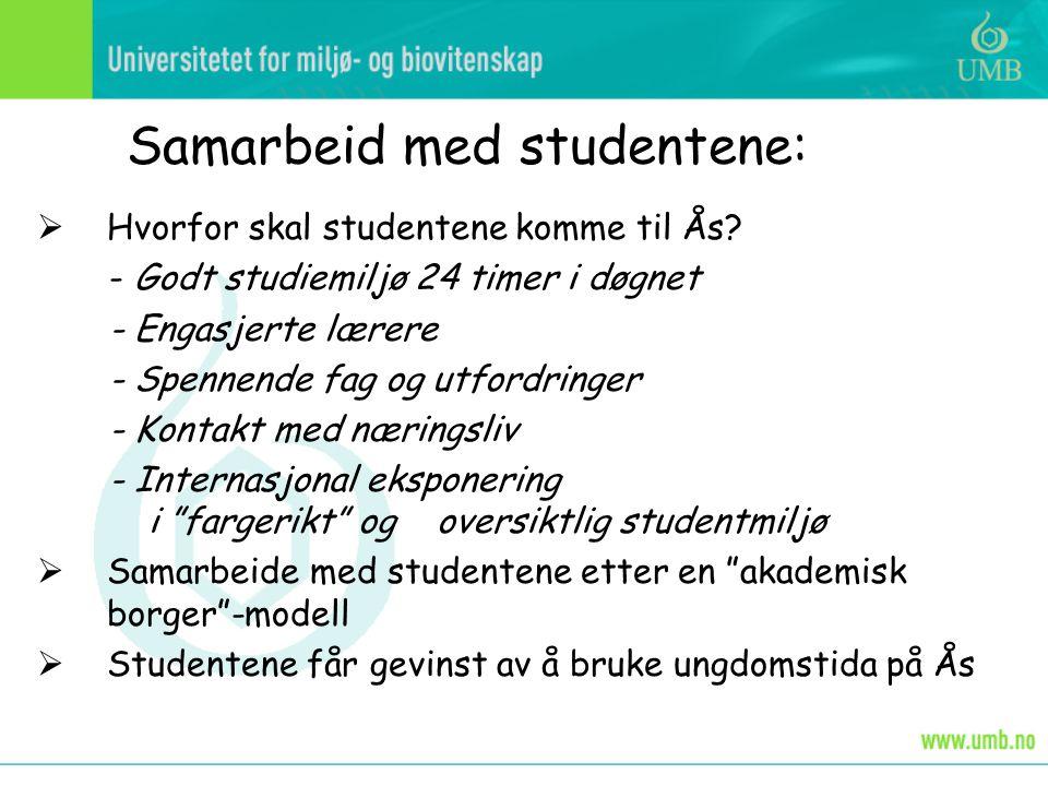 Samarbeid med studentene:  Hvorfor skal studentene komme til Ås.
