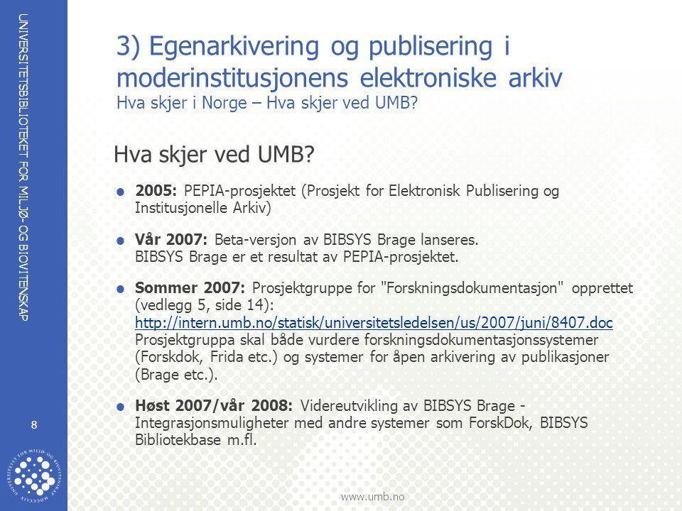 UNIVERSITETSBIBLIOTEKET FOR MILJØ- OG BIOVITENSKAP www.umb.no 9 4) Undervisning Kurs:  Augustblokka –2007: 441 studenter (40 undervisningstimer) –2006: 316 studenter (28 undervisningstimer) –2005: 180 studenter (24 undervisningstimer)  Litteratursøk (norsk) høst 2006/vår 2007: 45 studenter (22 undervisningstimer)  Litteratursøk (engelsk) høst 2006/ vår 2007: 6 studenter (2 undervisningstimer)  EndNote (norsk) høst 2006/vår 2007: 148 studenter (48 undervisningstimer)  EndNote (engelsk) høst 2006/vår 2007: 64 studenter (12 undervisningstimer)  RefMan(norsk) høst 2006/vår 2007: 6 studenter (6 undervisningstimer)  Spesialkurs for Masterstudenter Nytt tilbud våren 2007: 52 studenter (14 undervisningstimer)  Kurs etter avtale/ønske - skreddersydde kurs