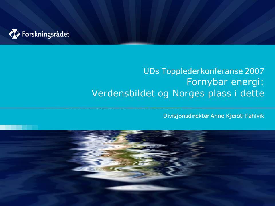 UDs Topplederkonferanse 2007 Fornybar energi: Verdensbildet og Norges plass i dette Divisjonsdirektør Anne Kjersti Fahlvik
