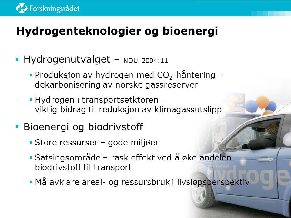 Hydrogenteknologier og bioenergi  Hydrogenutvalget – NOU 2004:11  Produksjon av hydrogen med CO 2 -håntering – dekarbonisering av norske gassreserver  Hydrogen i transportsetktoren – viktig bidrag til reduksjon av klimagassutslipp  Bioenergi og biodrivstoff  Store ressurser – gode miljøer  Satsingsområde – rask effekt ved å øke andelen biodrivstoff til transport  Må avklare areal- og ressursbruk i livsløpsperspektiv