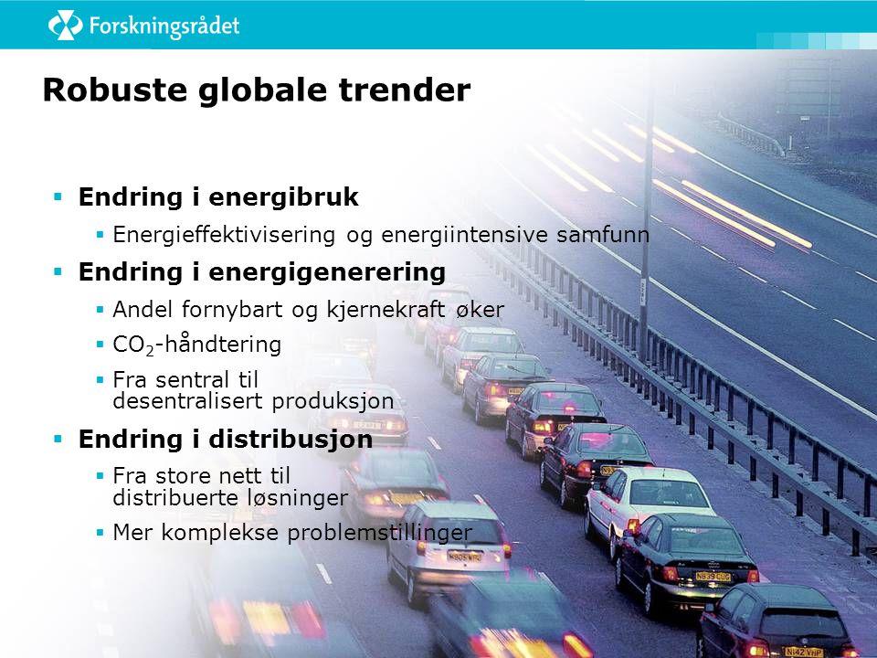 Robuste globale trender  Endring i energibruk  Energieffektivisering og energiintensive samfunn  Endring i energigenerering  Andel fornybart og kjernekraft øker  CO 2 -håndtering  Fra sentral til desentralisert produksjon  Endring i distribusjon  Fra store nett til distribuerte løsninger  Mer komplekse problemstillinger
