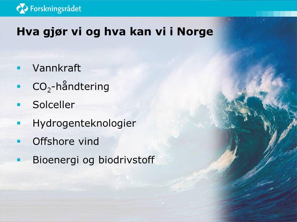 Hva gjør vi og hva kan vi i Norge  Vannkraft  CO 2 -håndtering  Solceller  Hydrogenteknologier  Offshore vind  Bioenergi og biodrivstoff